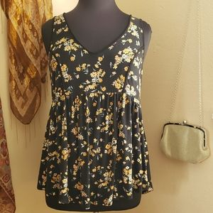 Torrid Yellow and Black Floral Babydoll Top